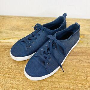 Decjuba Womens Canvas Lace Up Shoe Sneaker Blue Size 40 or 9