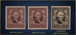 Musik und Philatelie: Österreichs 1922 - xx MNH + Probe - ANK-Nr. 418
