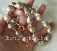 Große 13-16mm bunte lila Edison Barock Perlenkette 17 Zoll