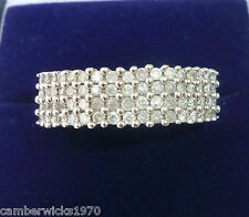 9ct White Gold 1ct Diamond Pave Set Ring, Size S