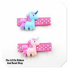2 MIXED COLOUR GIRLS UNICORN POLKA DOT RIBBON COVERED HAIR CLIPS 1 BLUE 1PINK