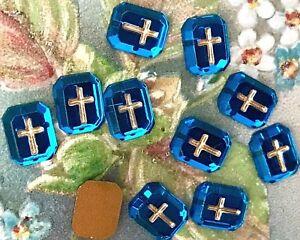 Vintage Square Cabochons, Cross Christian Germany Zircon Intaglio Crosses #1056