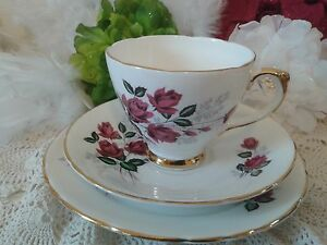 Vintage Teacup with Red roses & gold, English bone china trio, floral coffee cup