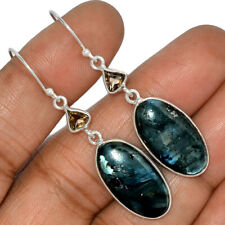 Larvikite Stone - Black Moonstone - Norway 925 Silver Earrings Jewelry AE118914