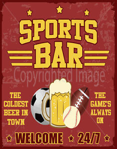 SPORTS BAR  LARGE METAL TIN SIGN POSTER VINTAGE STYLE WALL PLAQUE MAN CAVE