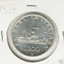 Italia 500 lire 1987 FDC da divisionale  KM 98 argento silver
