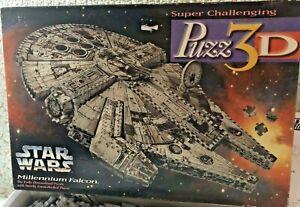 MiltonBradley Puzz3D Star Wars/Millennium Falcon/1995 Super Challenging COMPLETE