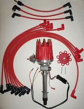 Small Cap CORVETTE Tach Drive RED HEI Distributor & Plug Wires over Valve Covers