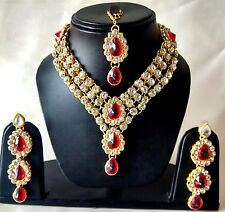 Indian Traditional Kundan Red Color Jewelry Maang Tika Necklace & Earings Set