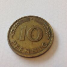 1950 'F' , 10 Pfennig Moneda, Alemania, Coleccionable!!!