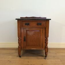Restored Edwardian Marble Top Oak Pot Cupboard with Top Drawer. Circa 1900.