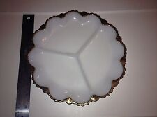 """Anchor Hocking Fire King Divided Serving Plate White Milk Glass w/Gold Trim- 10"""""""