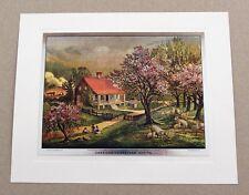 Vintage Currier and Ives American Homestead Spring Color Foil Etch Print