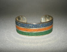 Southwest Cuff Bracelet Sterling with Chip Inlay Lapis Coral Green Agate Signed