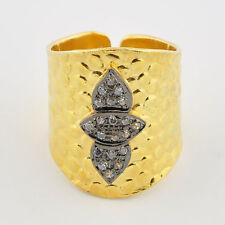 24k Gold Vermeil Rock Crystal Ring Size Adjustable