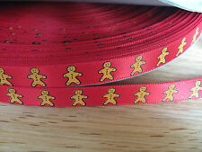RED GINGERBREAD MAN RIBBON..3 METRES..9MM .RED SATIN RIBBON.IDEAL FOR CHRISTMAS