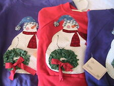 FROSTY SNOWMAN WINTER HOLIDAY~CHILD SWEATSHIRT size 4 fun novelty *OOAK RED