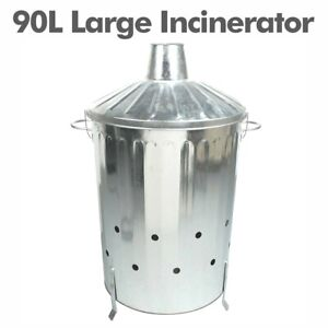 Large Garden Incinerator Small Fire Bin Galvanized 90L Burning Wood Paper Letter
