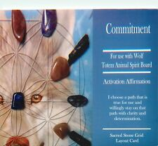 "Blue COMMITMENT Grid Card 4x6"" Heavy Cardstock For Use with Healing Crystals"