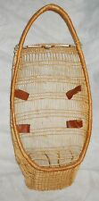 """HUPA WOVEN WILLOW BABY BASKET/CRADLE, 31"""" EARLY 20TH C., GOOD W/BEADS & SHELLS!"""