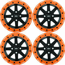 "DWT BLACK/ORANGE STAR FIGHTER 14"" BEADLOCK 14X7 WHEELS POLARIS RZR TURBO XP 1000"