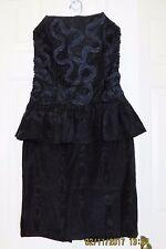 ROBERTA CALIFORNIA VINTAGE BLACK FORMAL Taffeta DRESS STRAPLESS SMALL 3/4