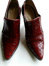 Little Shoe Shop Dark Red Snakeskin Effect Leather Shoes Size 1 (Petite)