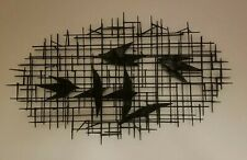 Mid Century Modern Brutalist Nail Art Wall Sculpture Abstract Jere Era Birds