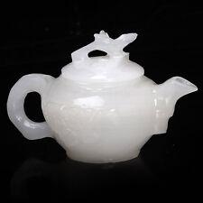 carved Natural Afghanistan Jade -- Plum flower statue teapot