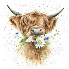 Wrendale Daisy Cow CANVAS WALL ART 20x20 Inch READY TO HANG limited stock