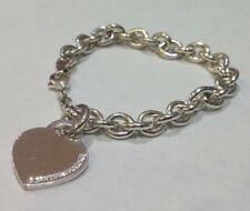 Tiffany and Co Sterling Chain Link Charm Bracelet with Heart Tag on Spring Ring