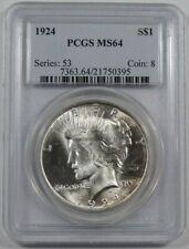 1924 PCGS MS-64 Peace choice uncirculated Silver dollar