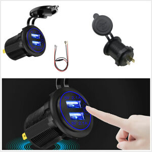Cigarette Lighter Socket 4.2A Dual USB Fast Charger Waterproof Fit For Car Boat