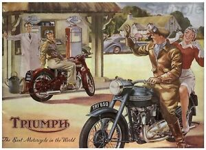 VINTAGE TRIUMPH MOTORCYCLE ADVERTISING Classic Print Poster Wall Picture A4 +