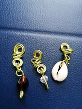 Handmade beads and wire hair jewellery for locs, braids and twists - GOLD