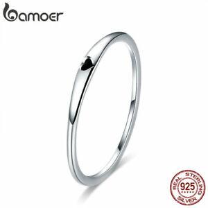 BAMOER Women Solid Finger Ring S925 Sterling silver Enamel Simple love Jewelry