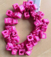A Pretty Pink Alphabet Beaded Hair Scrunchie/Bobble