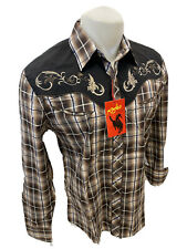 Mens RODEO WESTERN BROWN PLAID STITCH Long Sleeve Woven SNAP UP Shirt Cowboy 530