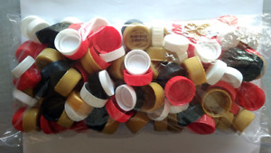 Assorted red black white gold bottle cap lid pack cleaned craft lot of 140 pcs