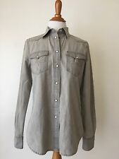 Ladies Lauren Jeans Co Ralph Lauren Denim Western Button Shirt Gray Size S (MC3)