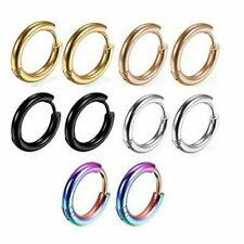 PAIR Silver Gold Rainbow Black Blue Surgical Steel Huggie Endless Hoop Earrings