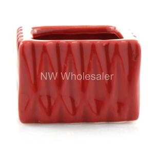 Small Red Ceramic Square Planter Pots Set of 12