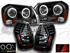 05 06 07 DODGE MAGNUM TWO HALO CCFL BLACK PROJECTOR HEADLIGHTS + LED BLACK TAIL