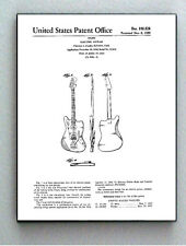 Framed 8.5 X 11 Fender Guitar Original Patent Diagram Plans Ready To Hang