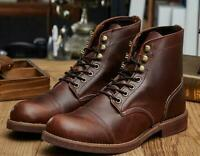 Mens Vintage High Top Round Toe Lace Up Leather Work Ankle Boots Shoes Brogue