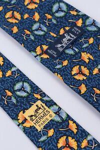 HERMES Paris Blue Yellow Flowers Floral Print 100% Silk Necktie 7518 IA