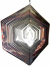Hanging Stainless Steel Garden Wind Spinner Sun Catcher Crystal - Large Hexagon