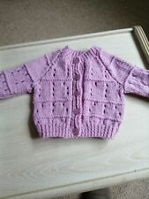 Lilac hand knitted baby cardigan - new - 0 to 3 months