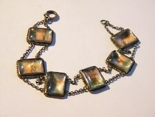 Art Deco era sterling silver bracelet ~ painted mother of pearl panels ~ 1920s