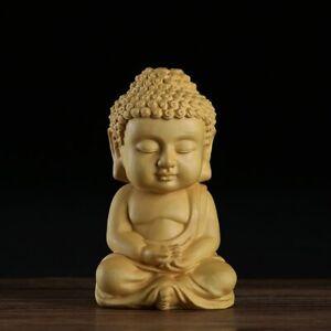 Buddha Statue Wood Sakyamuni Boxwood Wooden Crafts Car Home Figurines Decor